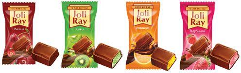 АССОРТИ шоколадных конфет с начинкой (вишня, киви, апельсин, клубника)
