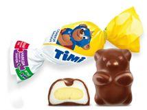 Глазированные конфеты в форме медвежонка из двух слоев нежного суфле со вкусами сливок и банана