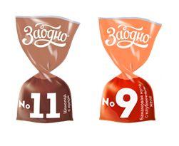 Глазированные конфеты с  нугой и желе (шоколад/кола, банан/клубника)